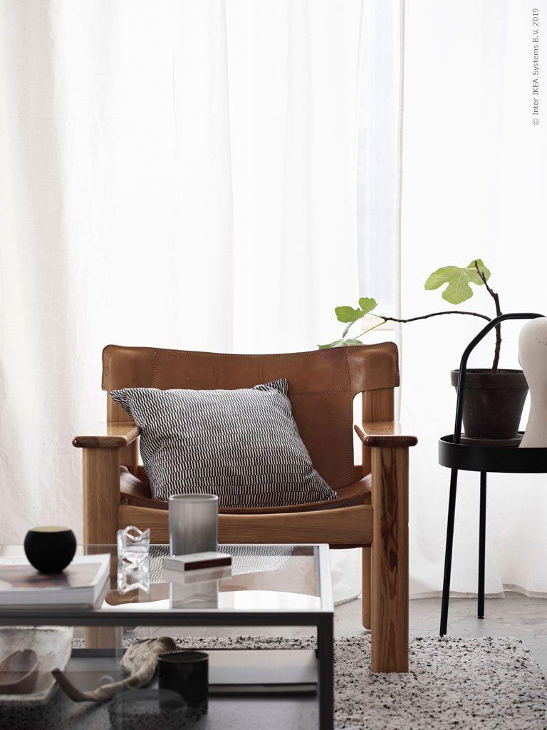 NATURA vintagefåtölj, SAMMANHANG soffbord, grå, glas, VINDUM