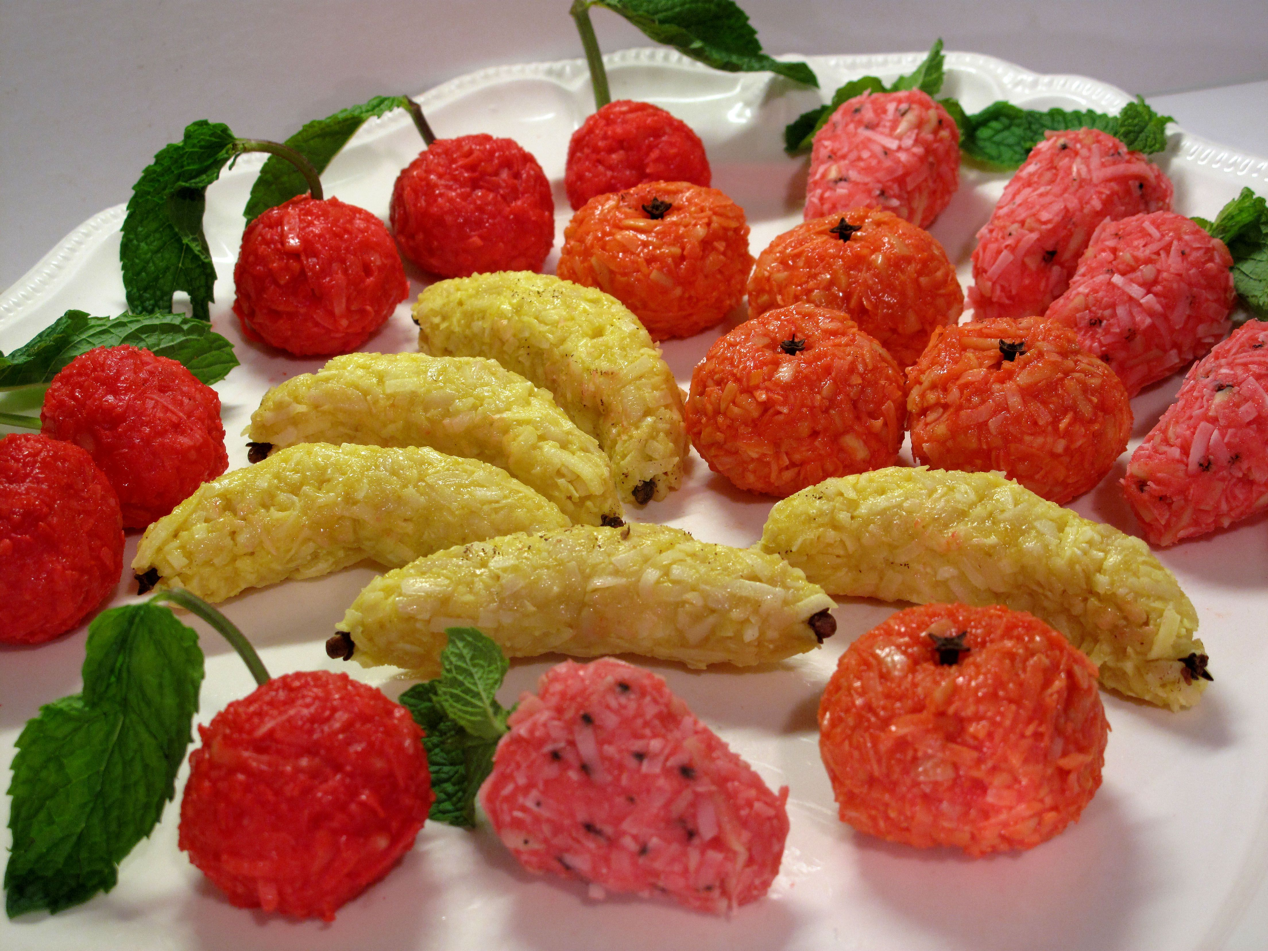 Cake decorations - faux marzipan with coconut & jello flavor