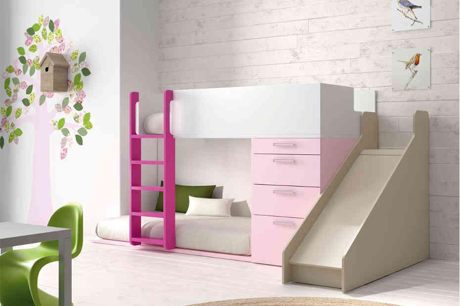 cama tren infantil para colchones de x cm con acceso por escalera de madera sin