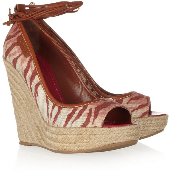 Sergio Rossi Tiger-print canvas wedge sandals ($199) ❤ liked on Polyvore