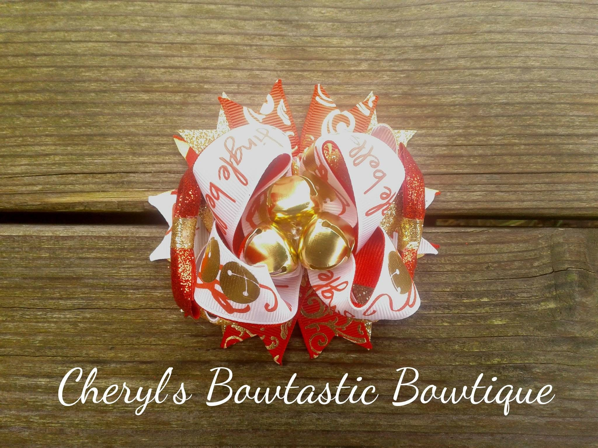 Jingle Bell Bow Christmas Bow Christmas Bells Red And Gold Bow Stacked Bow Boutique Bow Over The Top B In 2020 Christmas Bows Stacked Boutique Bows Boutique Bows