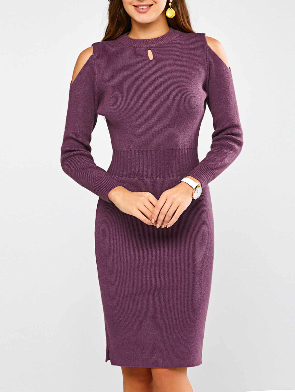Long Sleeve Cold Shoulder Sweater Dress In Purple Sammydress