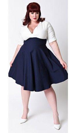 Unique Vintage Plus Size 1950s Style Navy White Delores Swing
