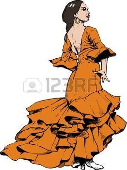 Danseuse flamenco danseur de flamenco mosa que - Danseuse flamenco dessin ...