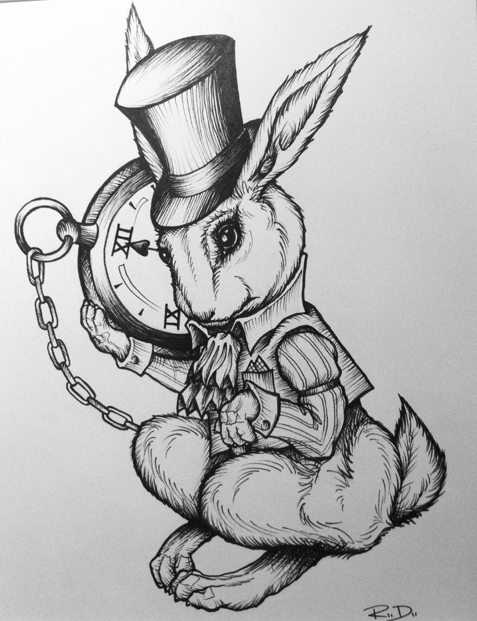 White Rabbit Alice In Wonderland Tattoo White Rabbit Illustration