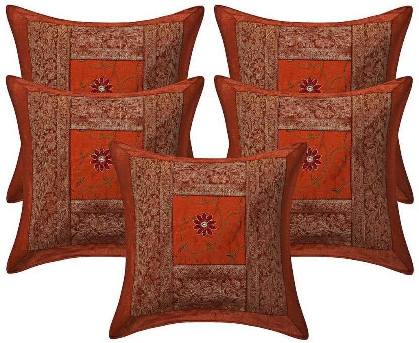 Indian Silk Cushion Cover Throw Sofa Decorative Pillow Case Cover 40 Unique Indian Silk Decorative Pillows