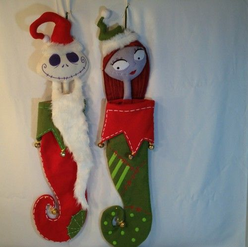 Used Disney Christmas Decorations: Jack Sally Nightmare Before Christmas Stocking Set Used