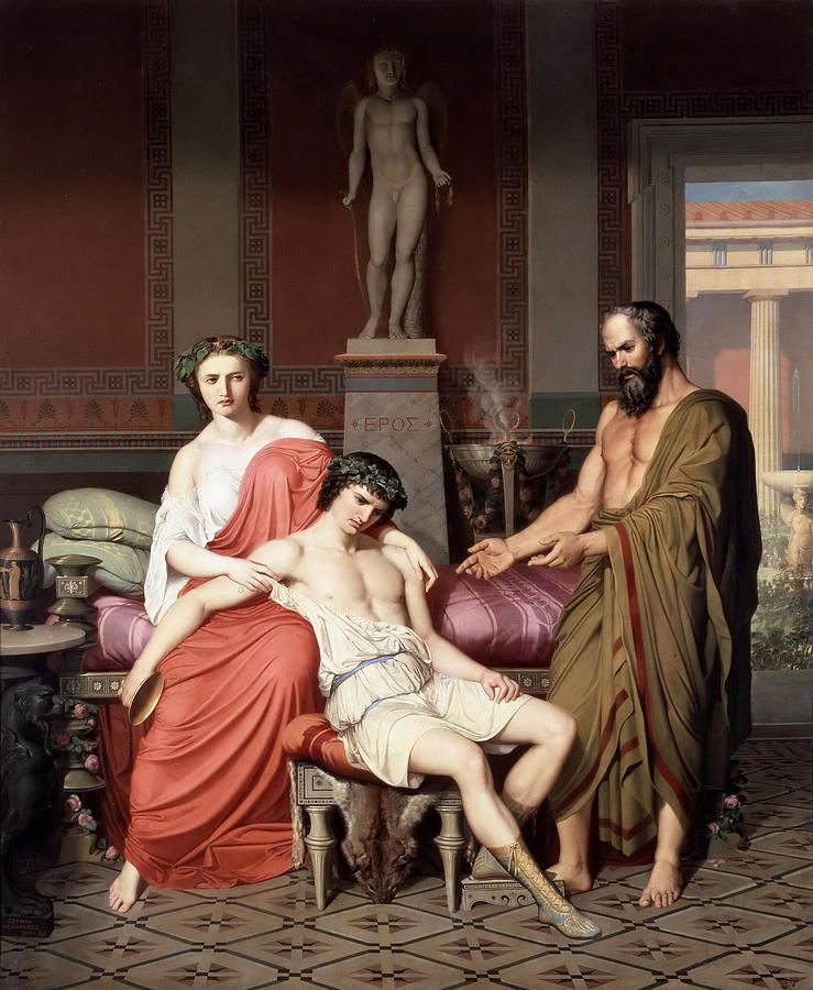Socrates Reprimanding Alcibiades In The House Of A Courtesan Painting by German Hernandez Amores