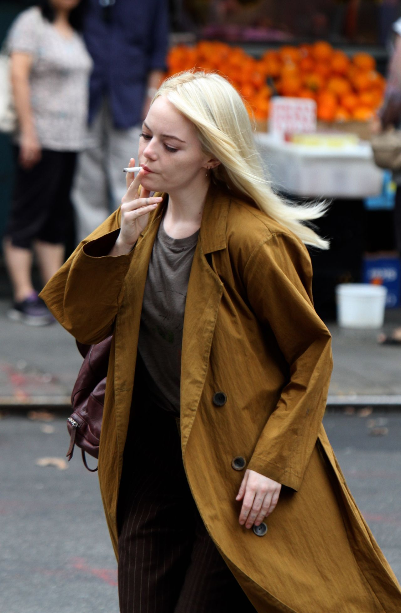 Emma stone shooting scenes on the set of maniac in long island nyc - 2019 year