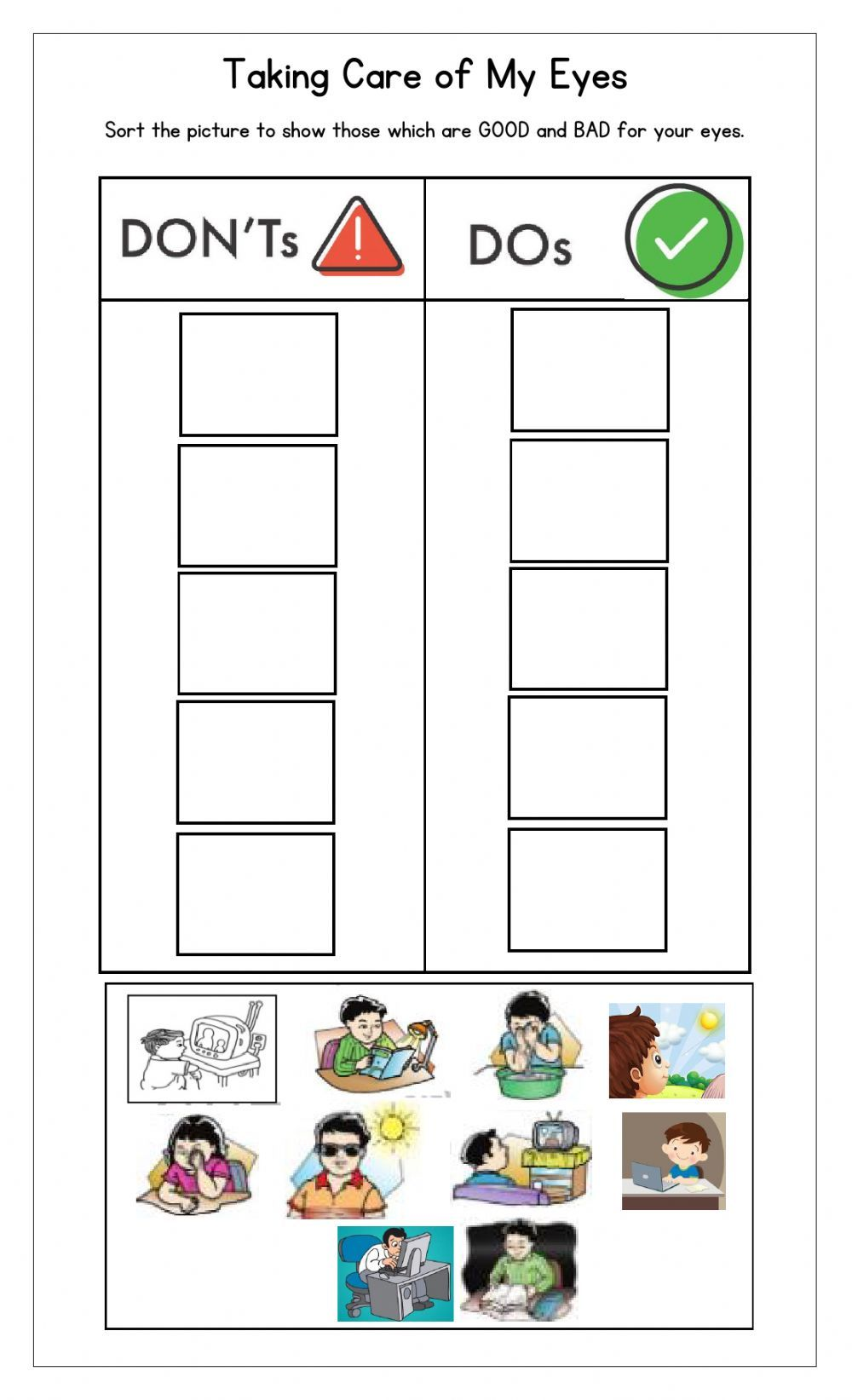 Taking Care Of My Eyes Interactive Worksheet Eye Lesson Daily Lesson Plan English Worksheets For Kids [ 1643 x 1000 Pixel ]