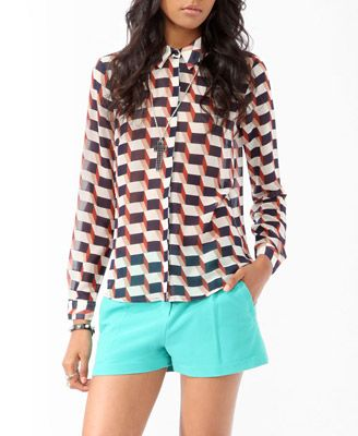 937e1bed9b201d Longline Block Print Shirt
