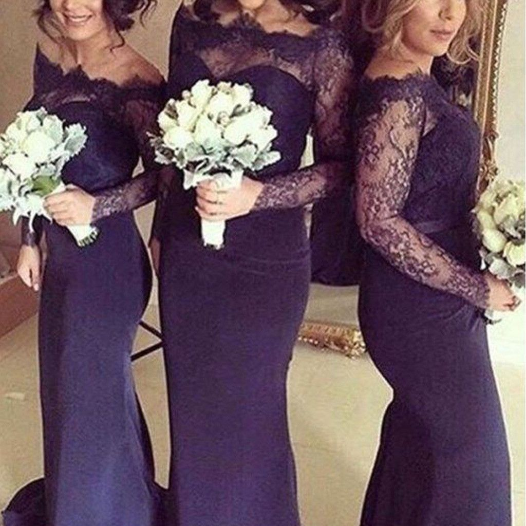 Sexy Long Sleeves Mermaid Lace Wedding Party Dress for Bridesmaids ...