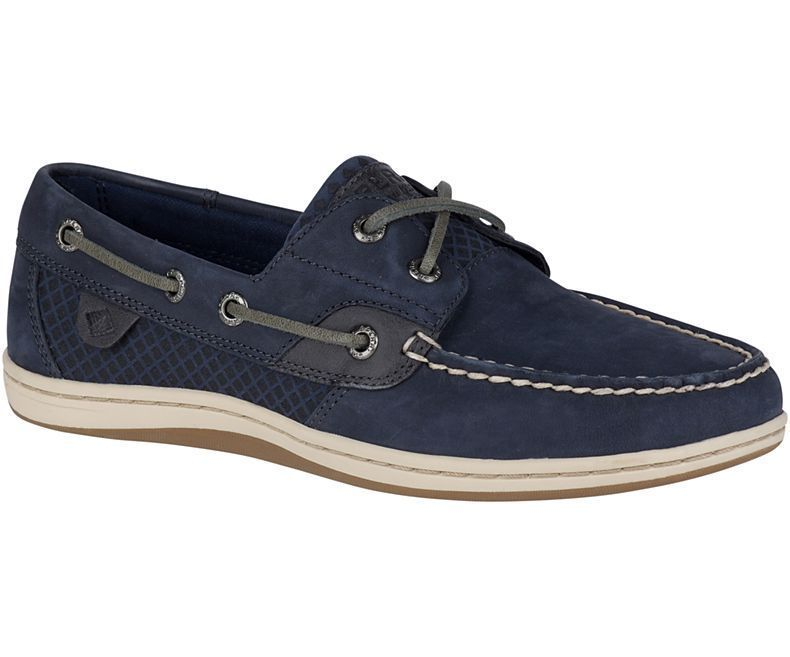 Sperry Womens Koifish Etched Boat Shoe (Navy, 6.5)
