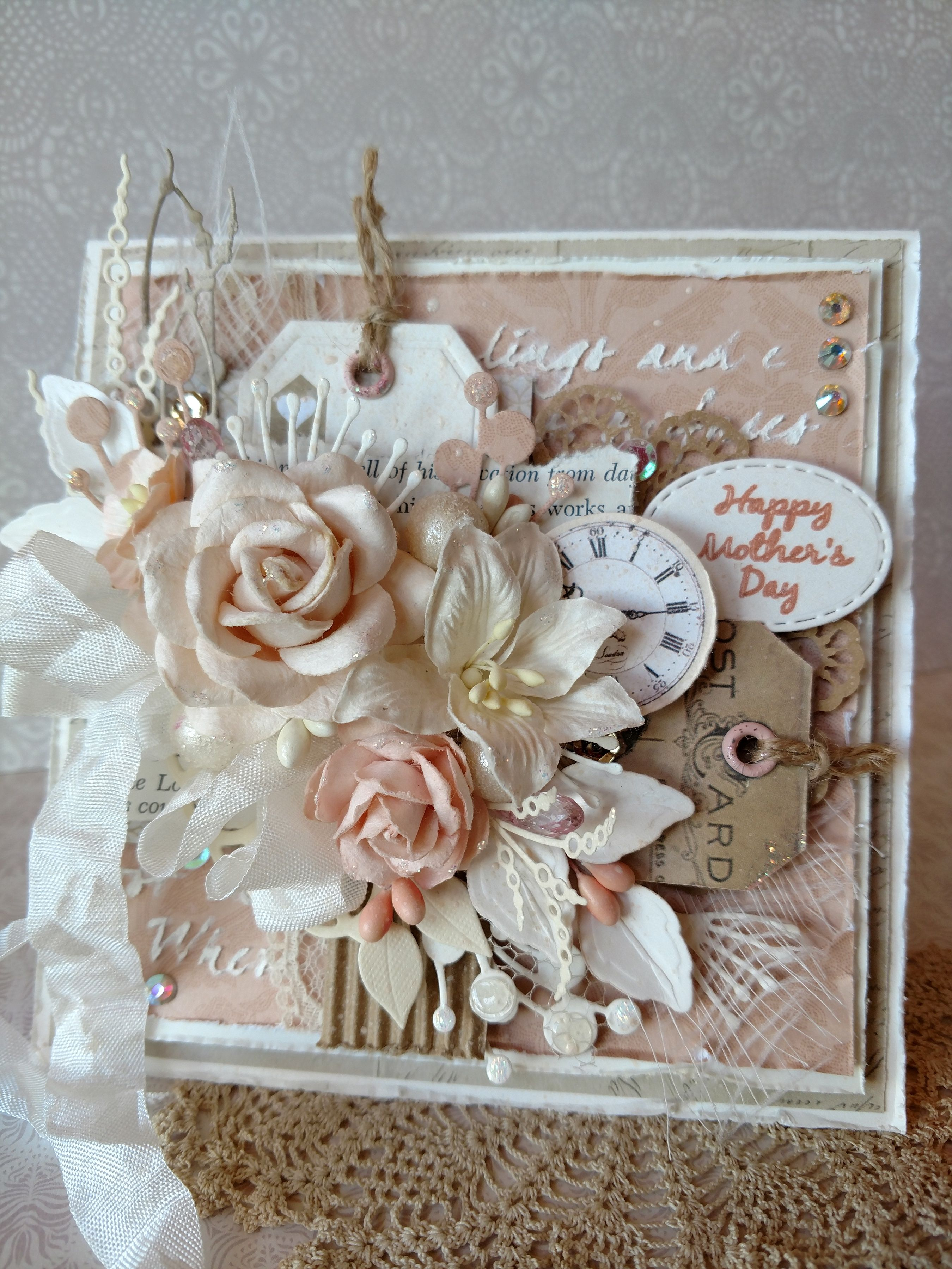 peach mother's day card  scrapbook  beautiful