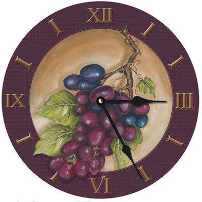 """Lexington Studios 10"""" Vinyard Grape Wall Clock"""