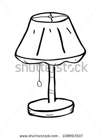 Table Lamp Doodle In 2020 Clipart Black And White Black And White Furniture Lamp