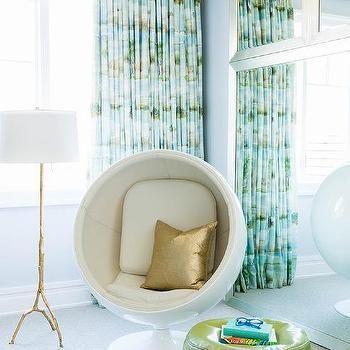 white pod chair with gold metallic pillows - Metallic Kids Room Interior