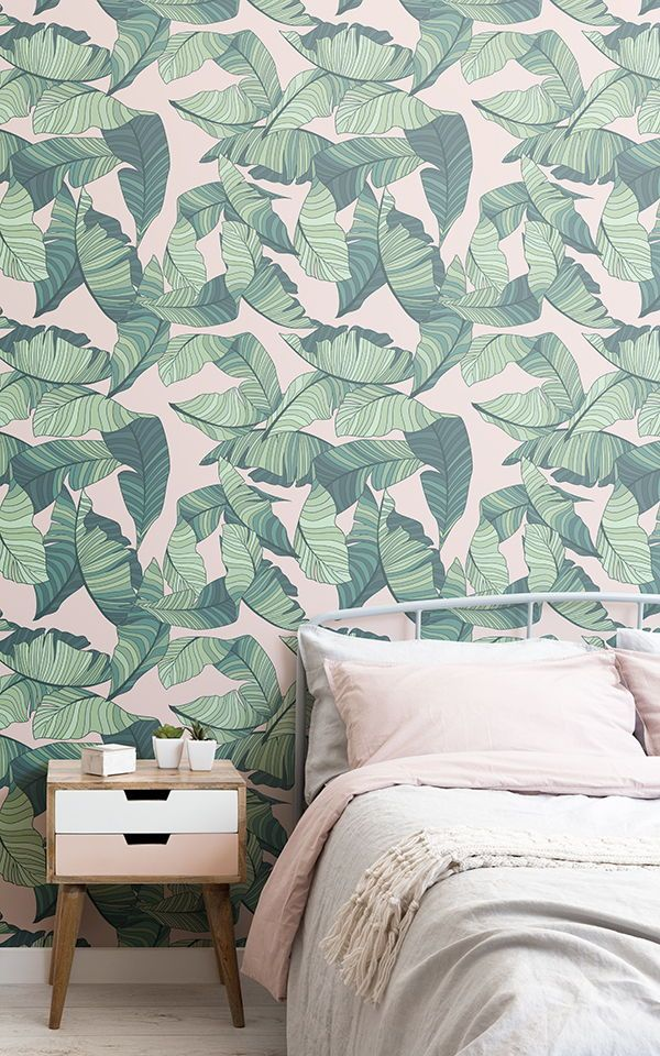 Papier Peint Feuilles Tropicales Roses Et Vertes | Murals Wallpaper | Wallpaper Design For Bedroom, Wallpaper Bedroom, Bedroom Wallpaper Murals