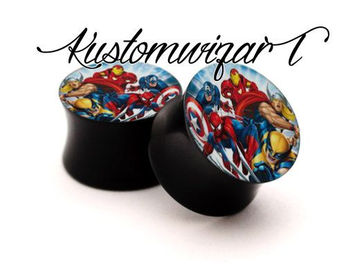 Marvel super heroes ear plugs from 10mm to 30mm acrylic sold individual