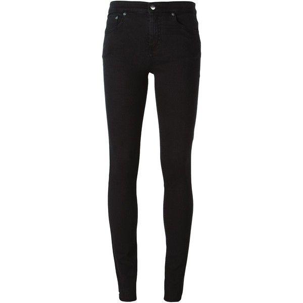 Mm6 Maison Margiela Skinny Jeans ($173) ❤ liked on Polyvore featuring jeans, black, black denim skinny jeans, mm6 maison margiela, black skinny jeans, black skinny leg jeans and denim skinny jeans