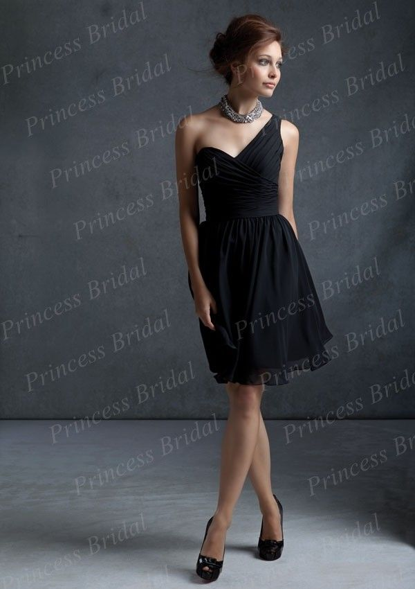 Black bridesmaids ·    Click to Buy    Free Shipping Gorgeous Top Quality  Sheath One Shoulder Pleated.    74aa79baef97