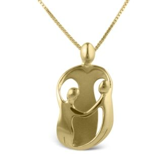 Loving Family® Mother with Two Children Vermeil Pendant