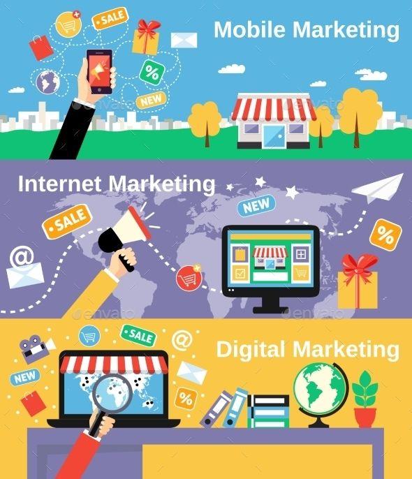Marketing Line Banners Set