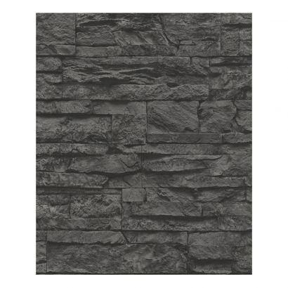 Tapete Wood and Stone - grau, schwarz - strukturiert Meine - wohnung in grau