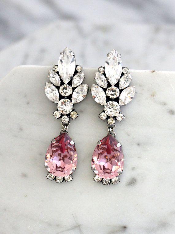 Blush Chandelier Earrings, Blush Pink Long Earrings, Bridal Blush ...