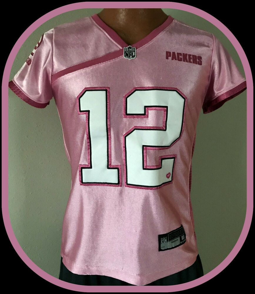 timeless design c56ae beb80 GREEN BAY PACKERS AARON RODGERS WOMENS SMALL REEBOK PINK ...