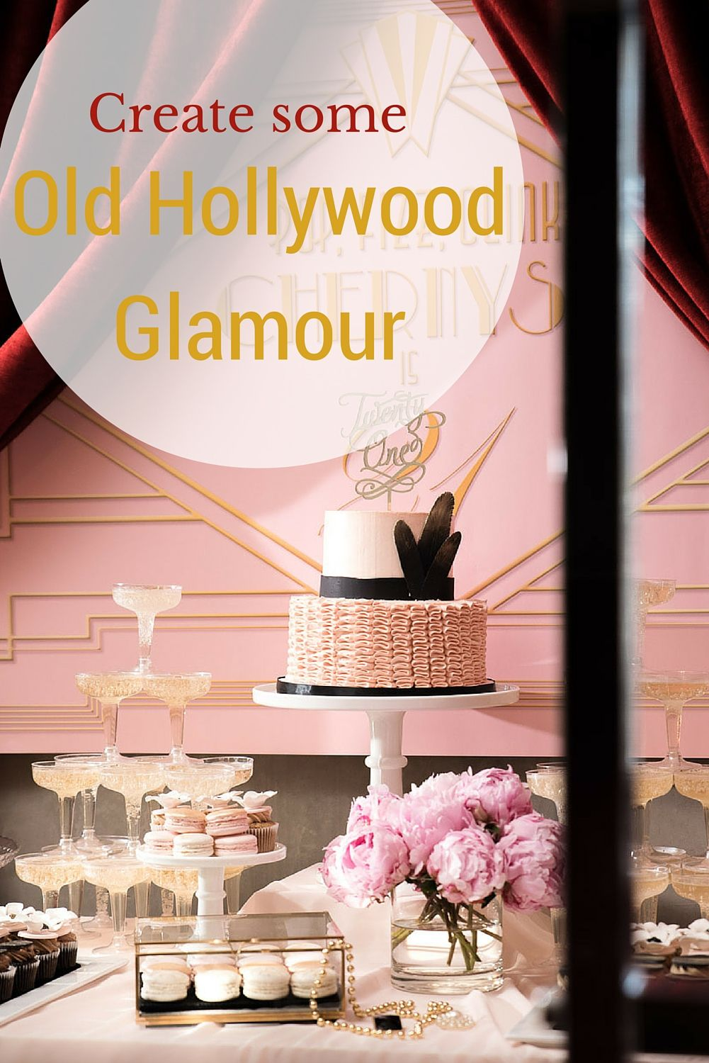 Old Hollywood Glamour Party Black White Gold Lasting