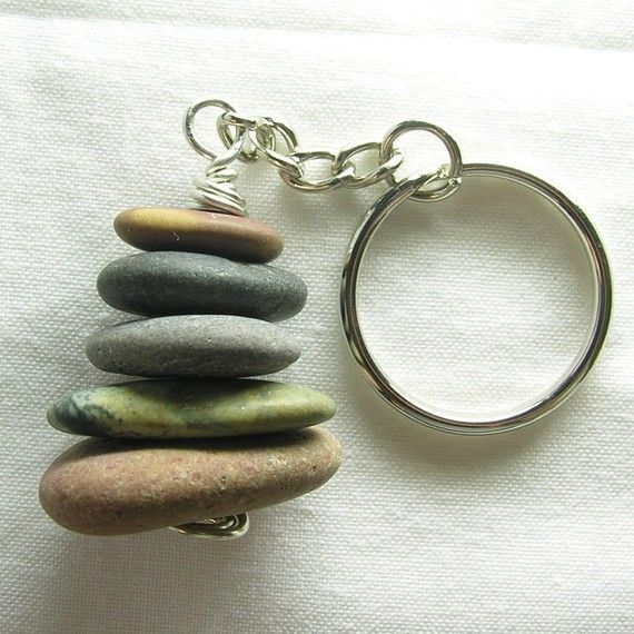 Maine Beach Stone Cairn Rock Keychain