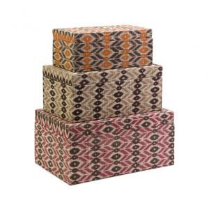 Decorative Lidded Storage Boxes Stackable Chests  Of 3 Indonesian Woven Medong Pattern