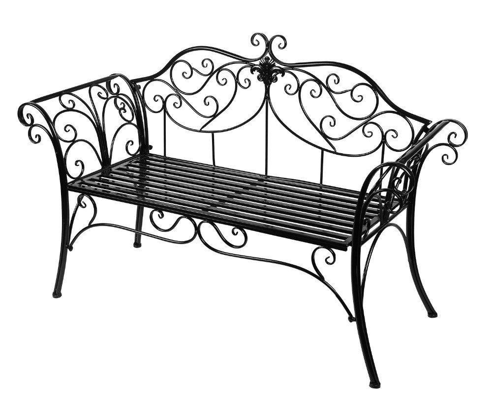 Outdoor Garden Bench Black Rust Proof Cast Iron With Elegant