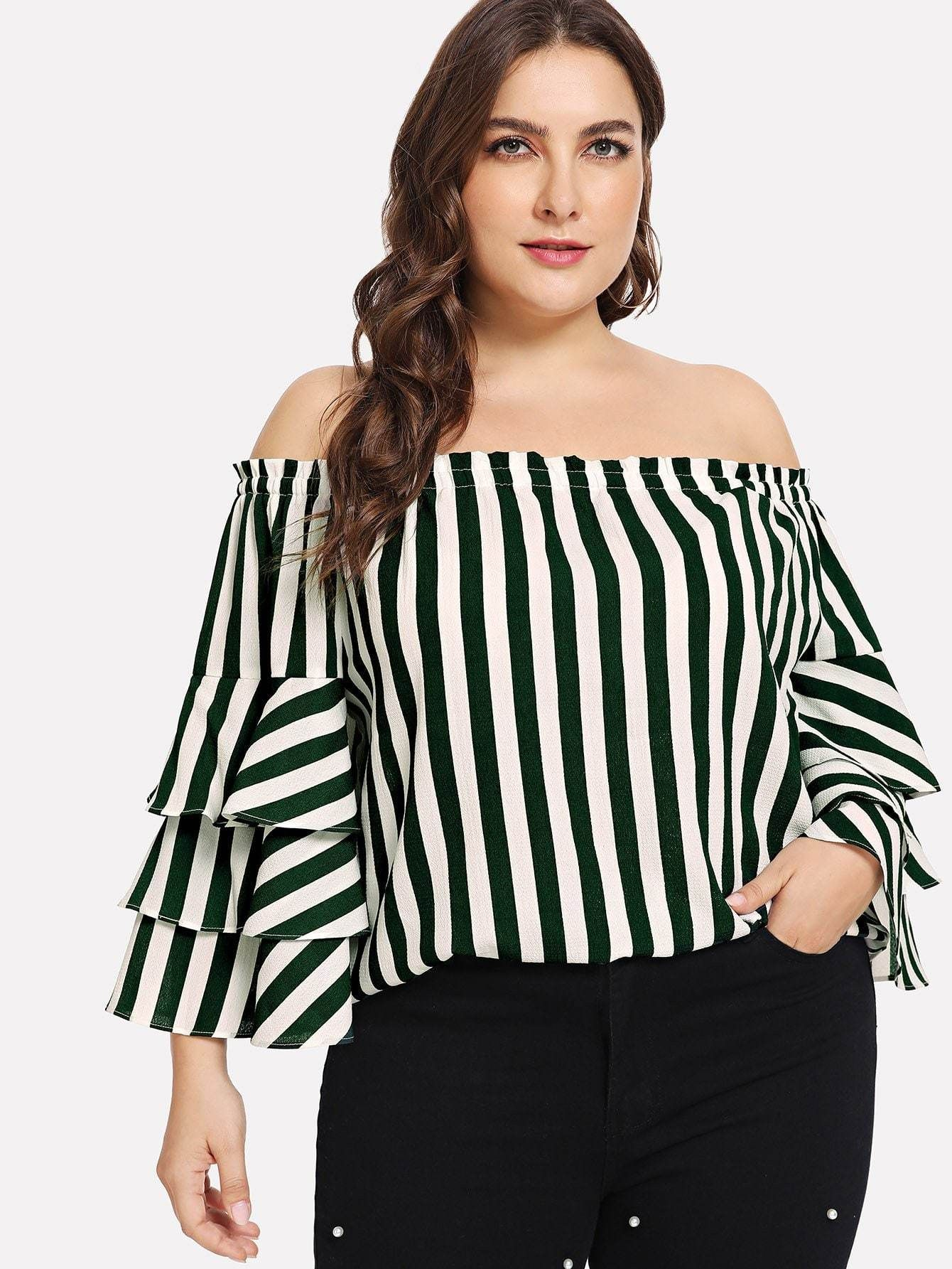 7b45ddaaeac Plus Size Layered Sleeve Off Shoulder Green & White Striped Top FREE SHIP