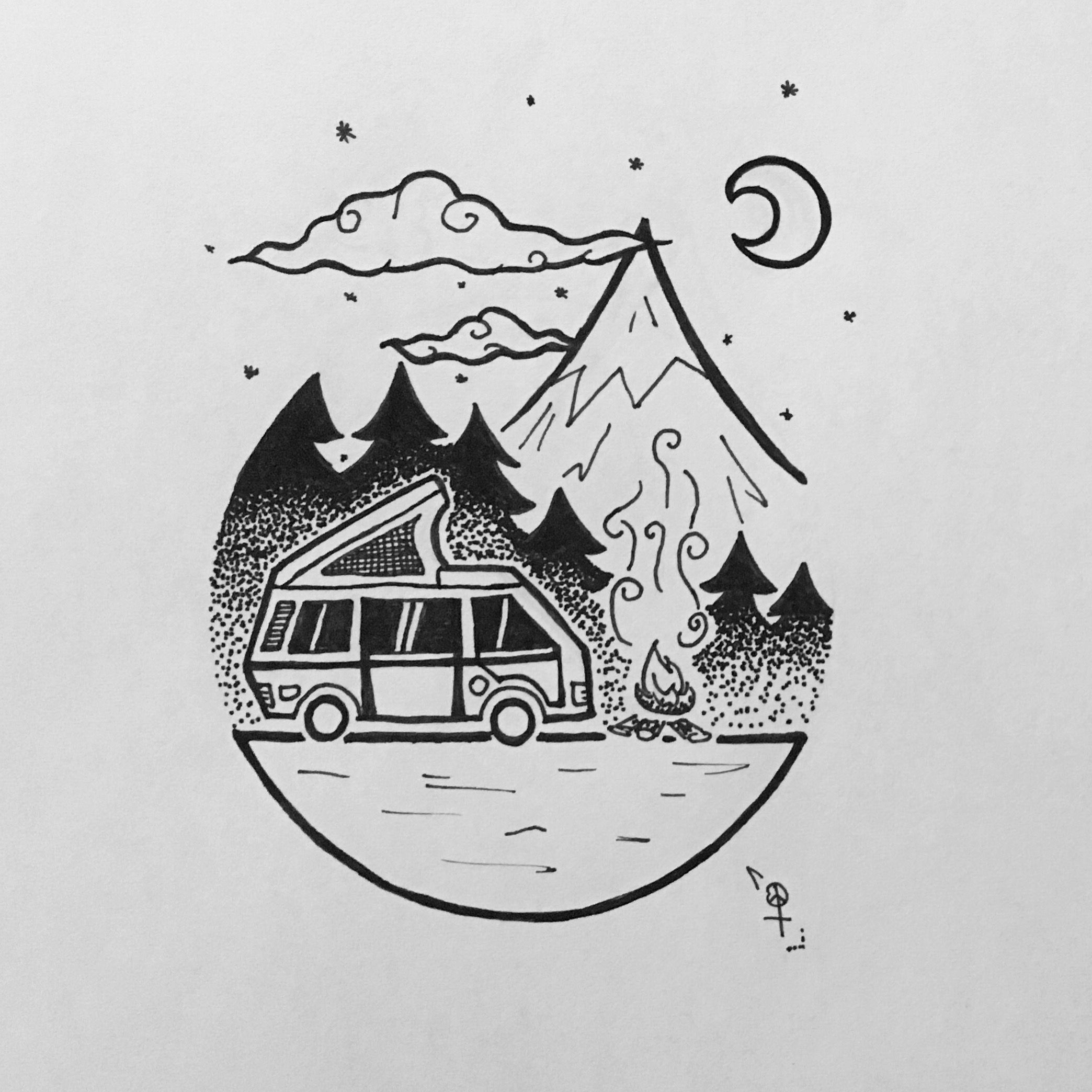 doodle drawing dessin g om trique geometric draw camping vw van feu de camp montagne for t. Black Bedroom Furniture Sets. Home Design Ideas