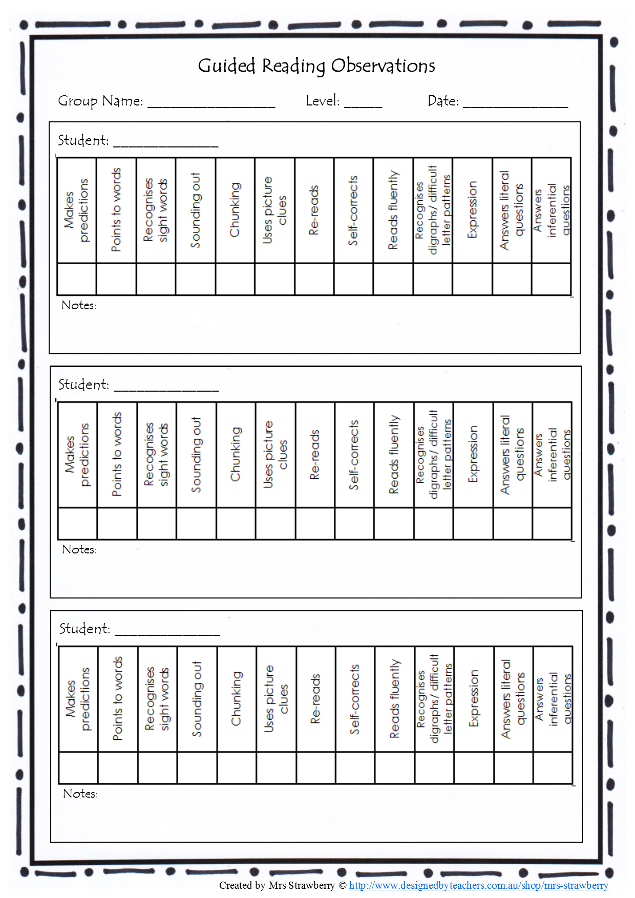 Guided Reading Observations Checklist Copy This Page Back And Front To Have An Easy To Use