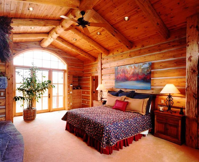 Log home master bedrooms log home builders oregon for 4 bedroom log cabin homes