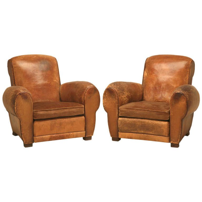 Pair 1940's Original French Leather Club Chairs - Pair 1940's Original French Leather Club Chairs Leather Club