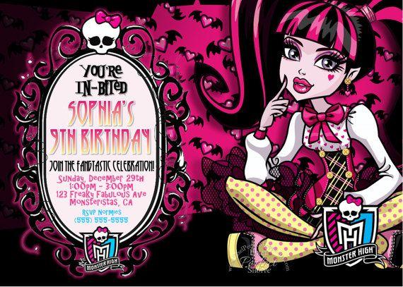 monster high birthday invitation, monster high party supplies, Birthday invitations