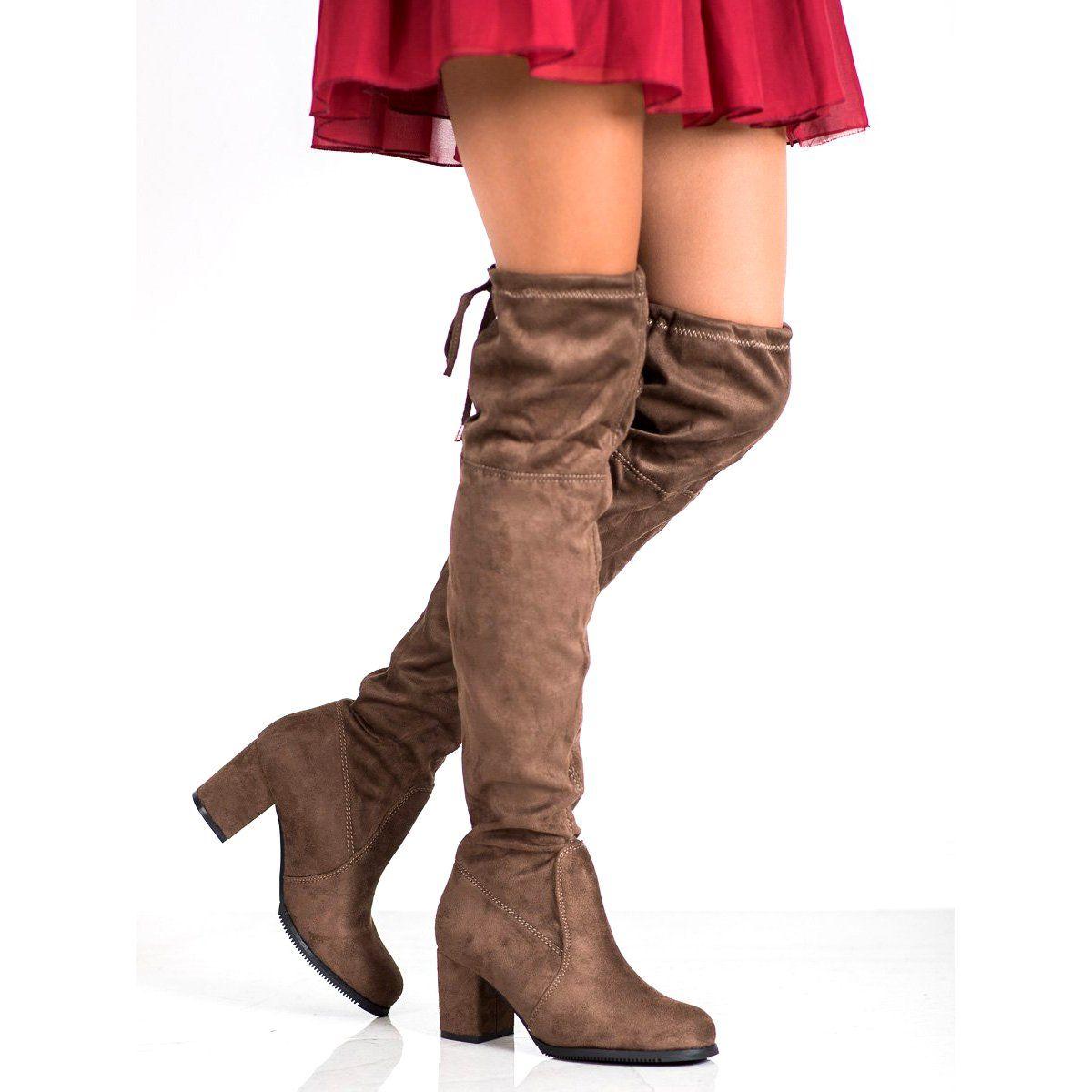 J Star Wsuwane Kozaki Na Slupku Slip On Boots Boots Boot Shoes Women