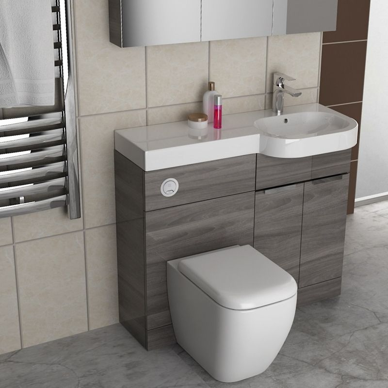 Small Bathroom Gravity Combination Vanity Unit Blue And Basin