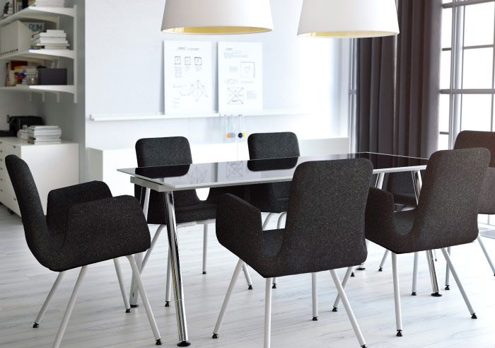 Conference Room With Black Visitor's Chairs And Table In Black Amazing Ikea Dining Room Chairs Sale Design Inspiration