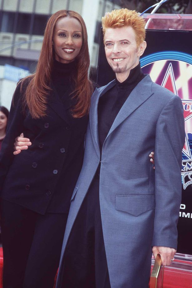 David Bowie & Iman on the Hollywood Walk of Fame in 1997.