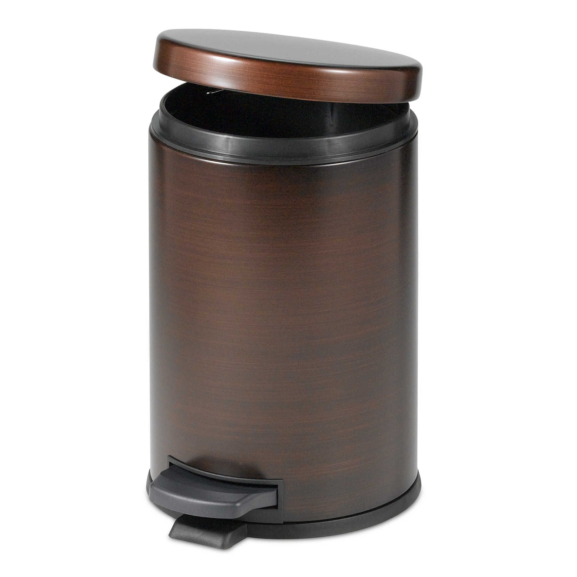 India Ink Oil Rubbed 4-1/2-Liter Bath Step On Wastebasket in ...