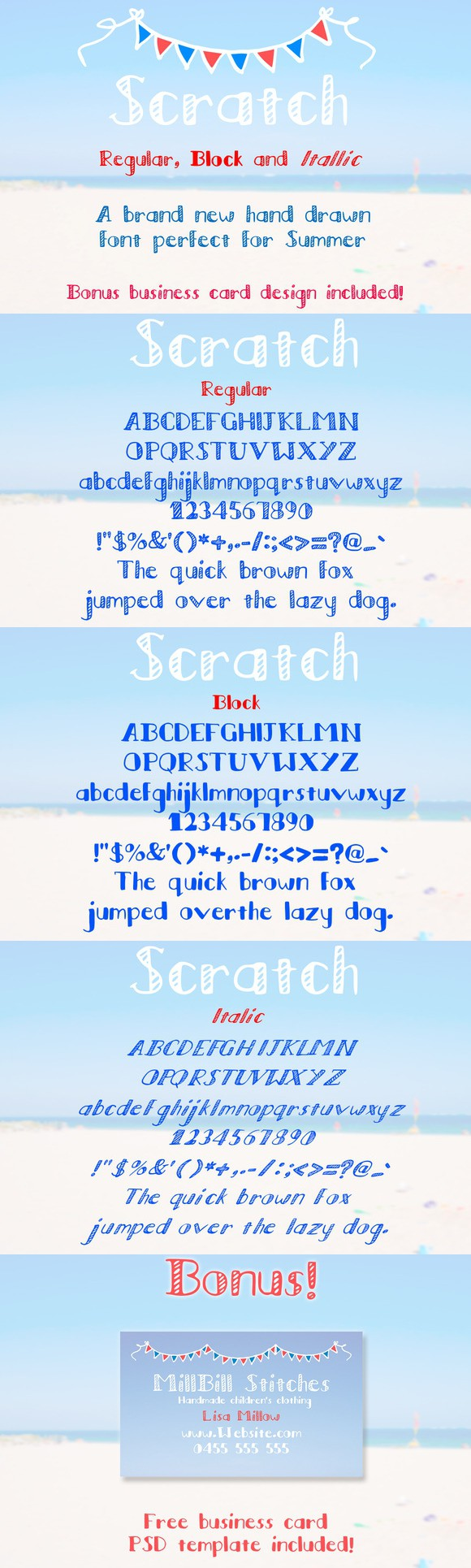 Scratch -Regular, Block, Italic Font  Fonts  $6 00   Best Fonts