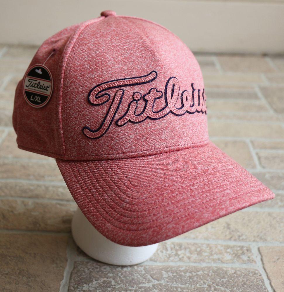 NWT Titleist Womens Golfing Hat Baseball Cap Heathered Pink Stretch Golf L  XL  Titleist  BaseballCap 2caed8e4581