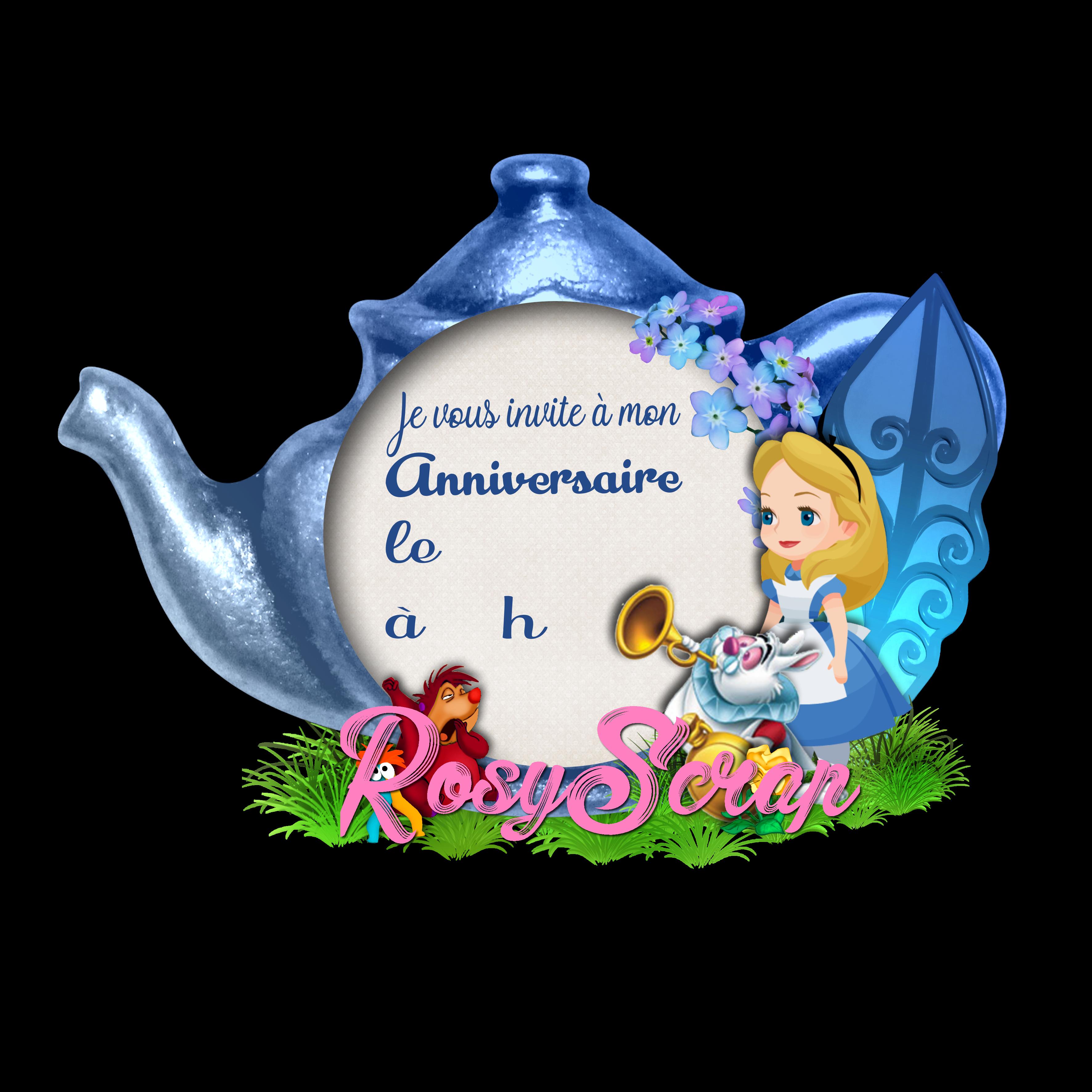 Carte D Invitation A Un Anniversaire Alice In Wonderland Prete