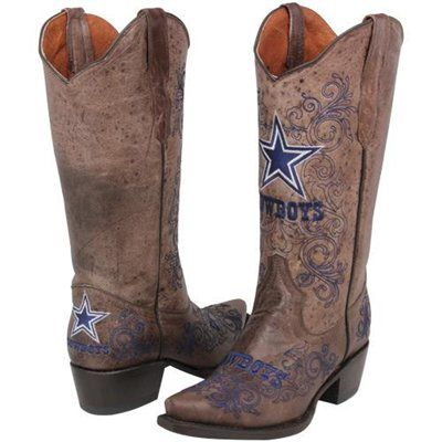Dallas Cowboys Womens Embroidered Cowboy Boots - Brown | Dallas ...