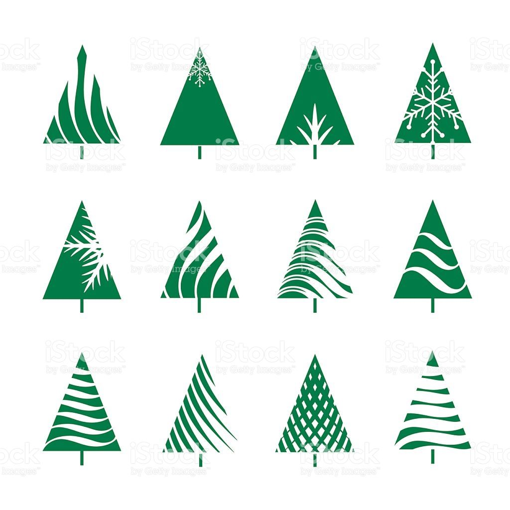 Set Of Green Geometric Christmas Tree Royalty Free Stock Vector Art Xmas Cards Geometric Tree Crafts